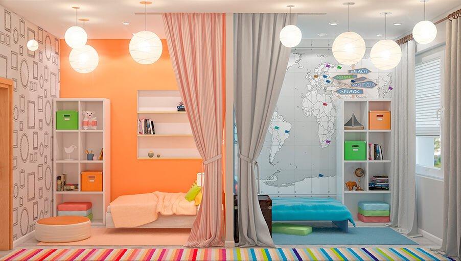 Не в тесноте и не в обиде: обустраиваем комнату для разнополых детей