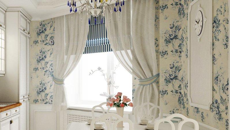 Стильное оформление окна на кухне: виды штор и декоративные приемы